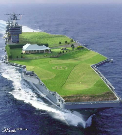 Golf course first...ask for more money...build runway...